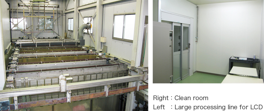 Photo Left: Large processing line for LCD, Right: Clean room